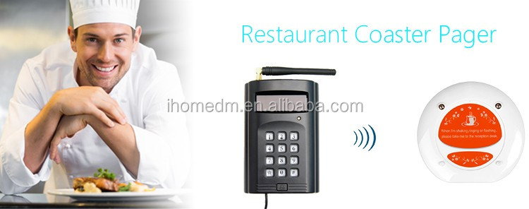 Guest wireless coaster pager system for food taking in fast food restaurant