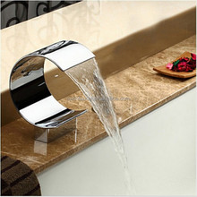 Big C shape Waterfall Spout For Basin & Bathtub Deck Mount Polished Chrome Bathroom Faucet Accessories