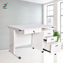 Office executive desk wooden top metal frame computer office table