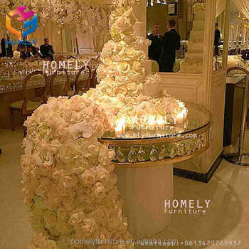 Party Event Furniture glass top round retangular marble top crystal wedding gold stainless steel table