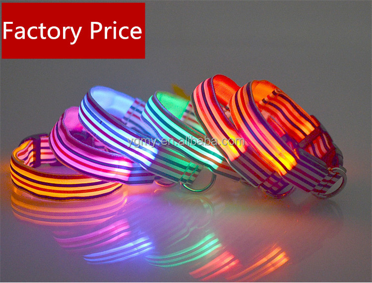Nylon adjustable Sailor Stripe LED Pet Dog Collar 3 size for Large and Small Dogs Puppy LED Flashing Safety clip Collar