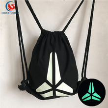 blue/green light logo reflective cotton drawstring bag