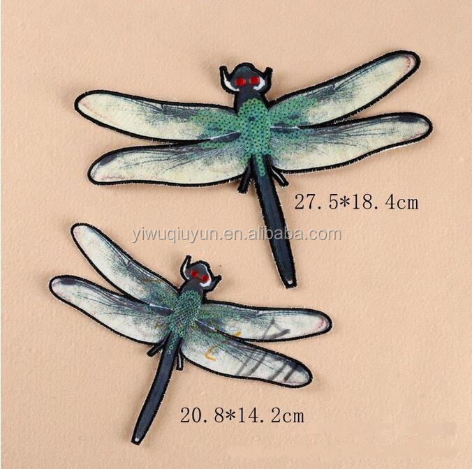 garment applique embroidery Diy Accessory for cloth quilt Dragonfly Animal Sequined Sewing on Patches