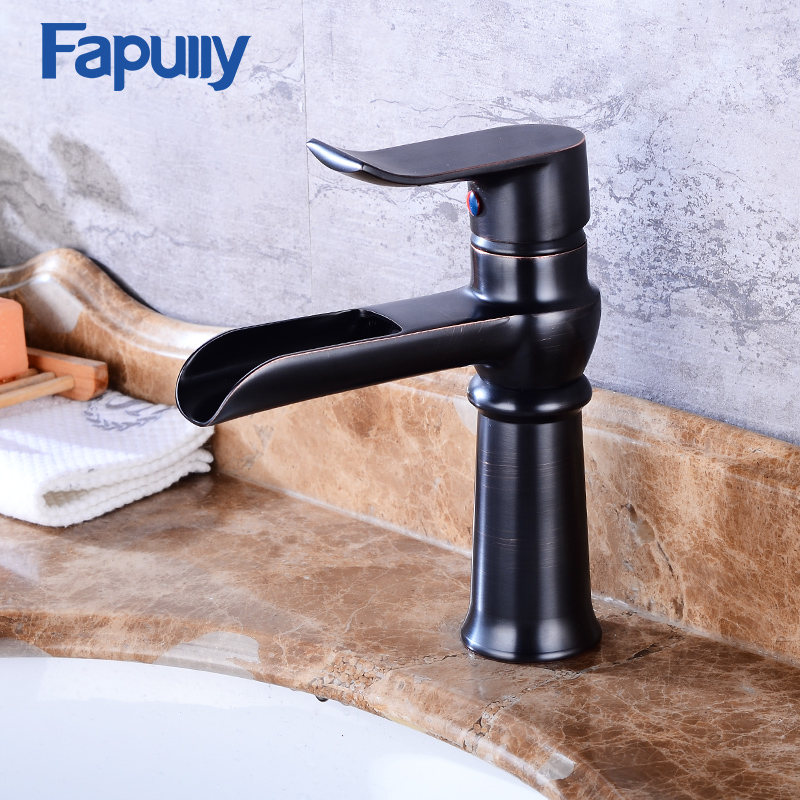 Fapully modern italian black waterfall faucet bathtub for bathroom