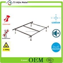 Black metal Double Bed Frame with rod in middle