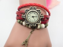 In Stock High Quality Women Leather Vintage Watches Tower Pendant Bracelet Wrist watches