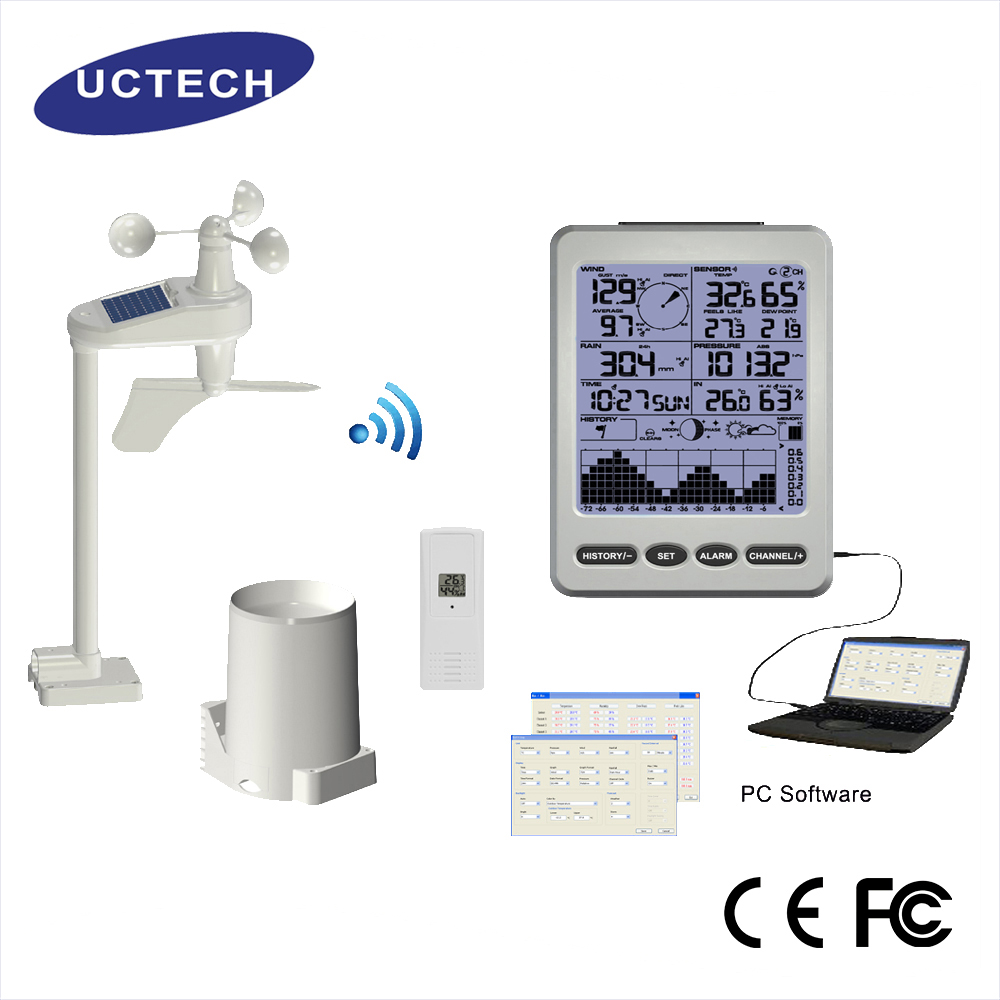 FT0202 Professional Solar powered ultronic clock wireless Weather station