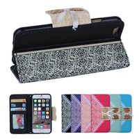 BRG fresh Bowknot Lace Wallet Stand leather cheap mobile phone case for iphone 6 with photo frame