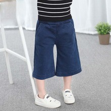 CB9016 children clothing three quarters girls wide leg jeans