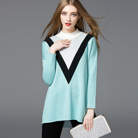 OEM factory made latest Autumn stand collar straight armhole long sleeve front short back long side slit women sweater