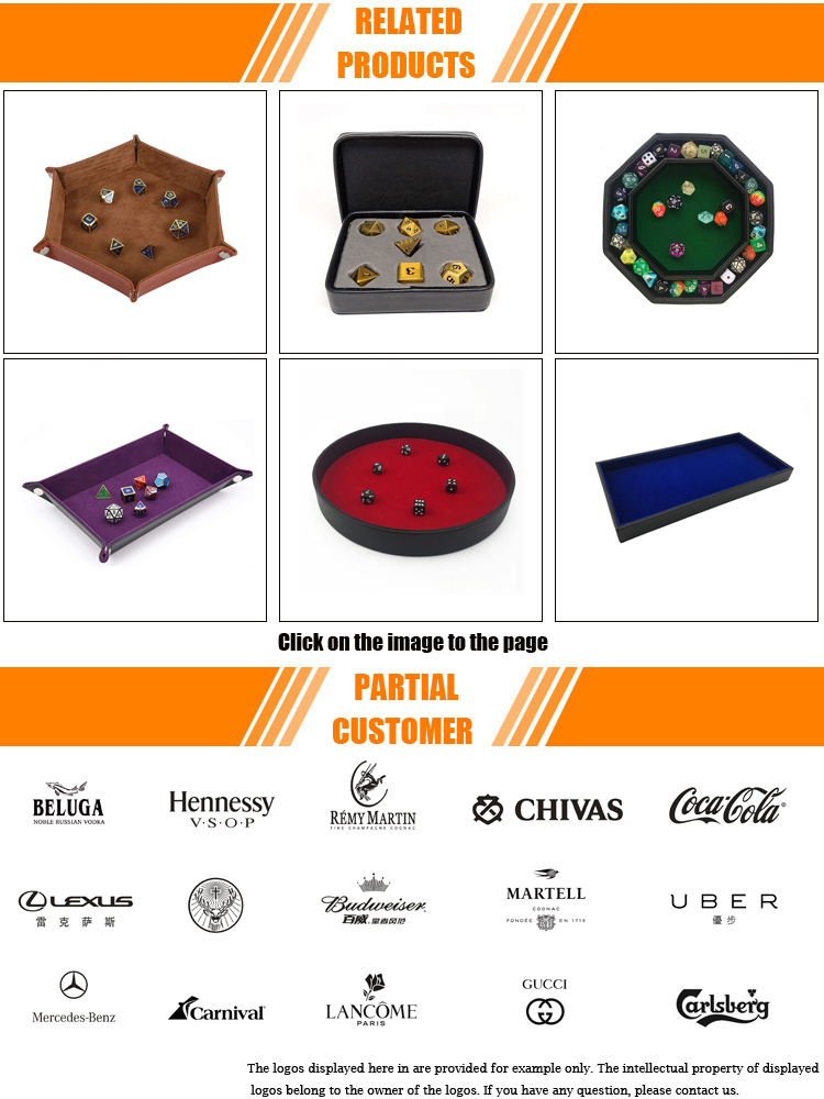 Custom Portable DND Gaming 11.5Inch leather dice tray For Rolling