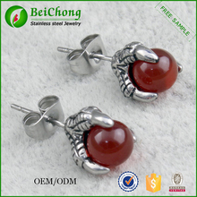 Cheap wholesale agate stud earrings jewelry eagle paw red stone earring
