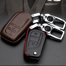 Leather Car Key Case Cover For Toyota Land Cruiser Prado Camry Prius Crown