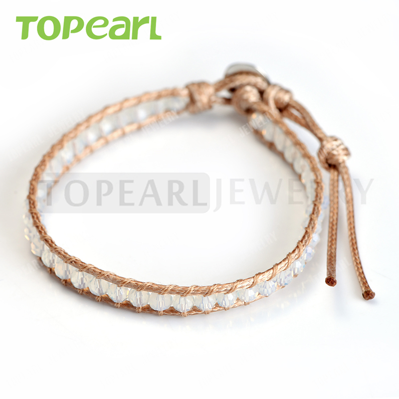 Topear Jewelry 2016 Crystal Handmade Single Wrap Bead Bracelet CLL10