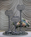 large decorative silver iron flower ball stand with led light