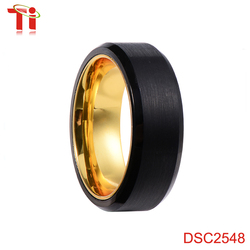 8mm men's latest wedding ring design, gold plated ring finger ring designs brushed matte finish with grooving