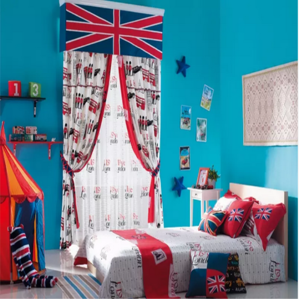 latest environmental British style cartoon fabric curtains for children