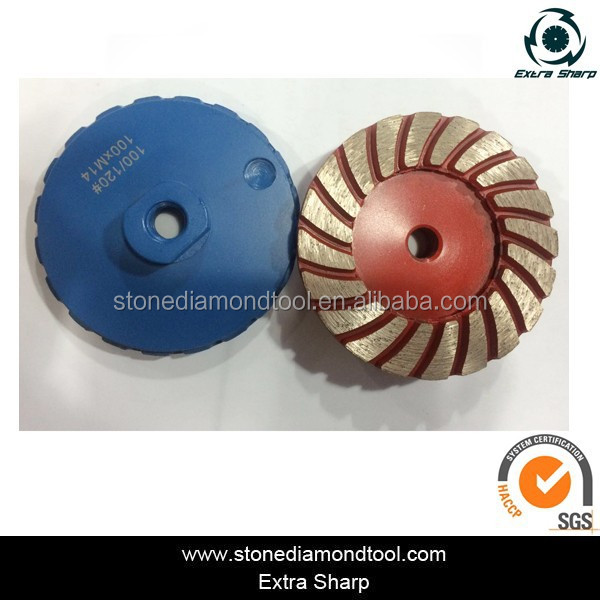 Turbo 4 inch diamond agressive coating eliminate grinding disc with M14 arbor