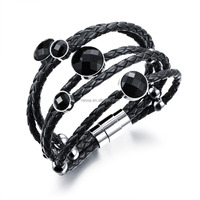 Fashion leather stainless steel magnetic bracelet wholesale NS-PH1014