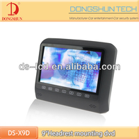 DS-X9D 9 inch car digital panel headrest dvd player with headrest mount bracket / headrest lcd car monitor with touch button