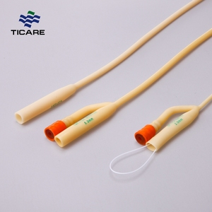 Medical disposable double balloon latex foley catheter with hard valve