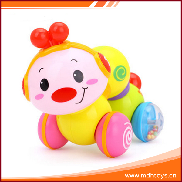 Funny colorful music plastic crawling worm soft toy with light