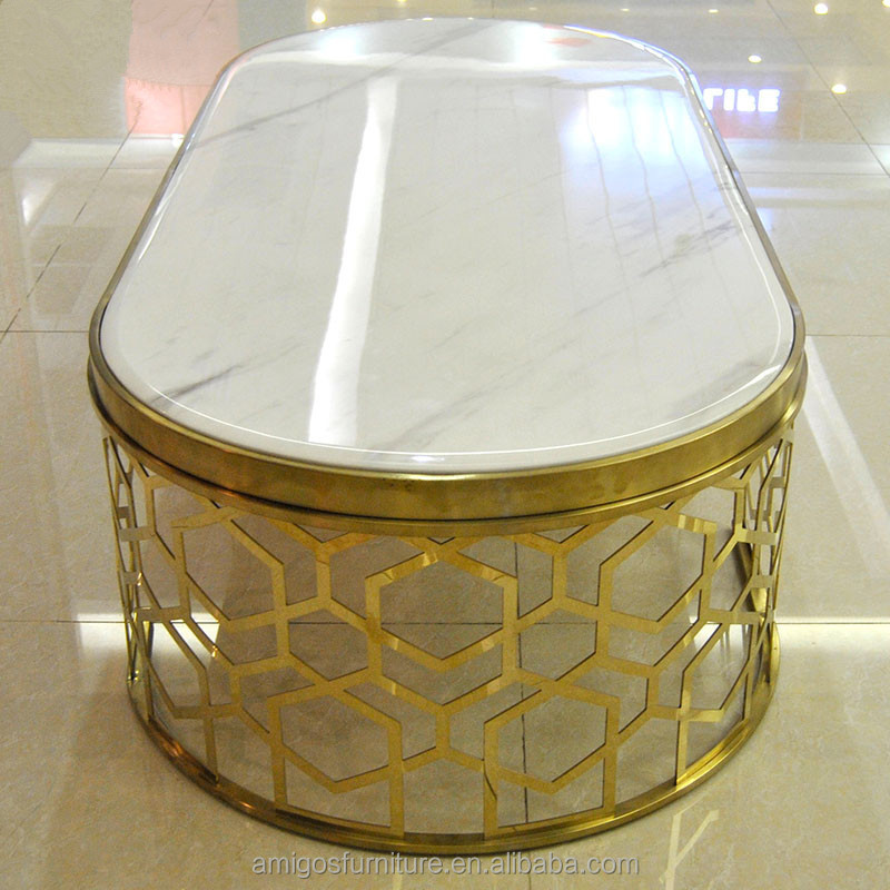 Stainless steel gold Nordic marble glass coffee <strong>table</strong>