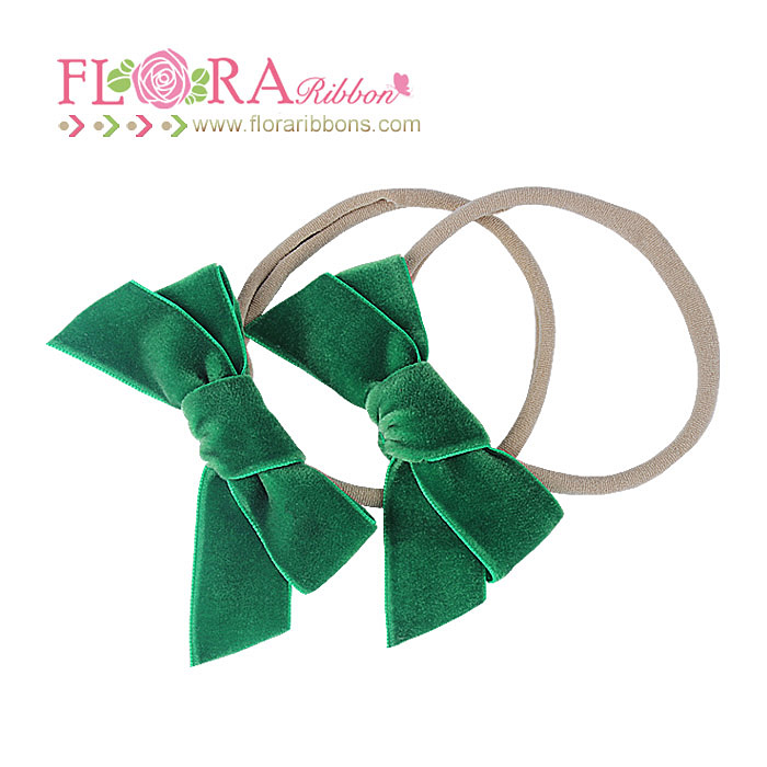 Boutique baby hair accessories soft spandex nylon headbands with velvet bows