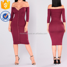 Sex Off The Should Burgundy Gown Dress OEM/ODM Women Apparel Customized Clothing Garment Wholesaler Ropa Customized Design China
