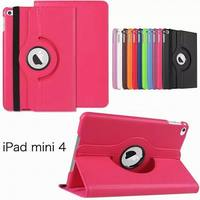 360 degree rotation PU leather Multi-Angel Stand Case for iPad Mini 4