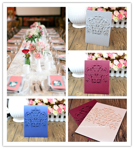 Indian / Arabic Paper Crafts Decorating Laser Cut Paper Wedding / Birthday Invitations Card