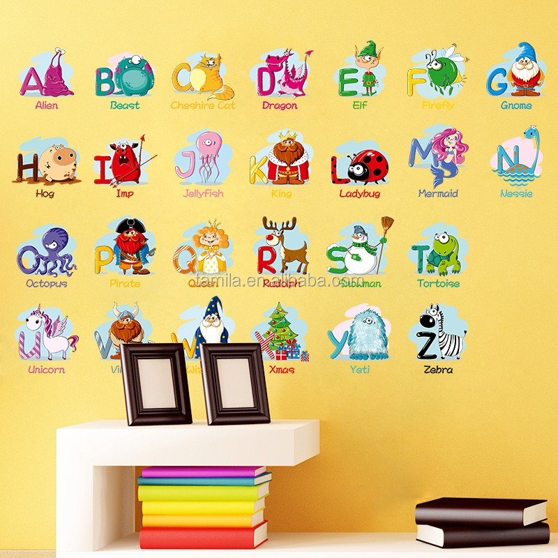 2017 New Arrival Kids Room decorative Learning English cartoon animals name alphabet sticker