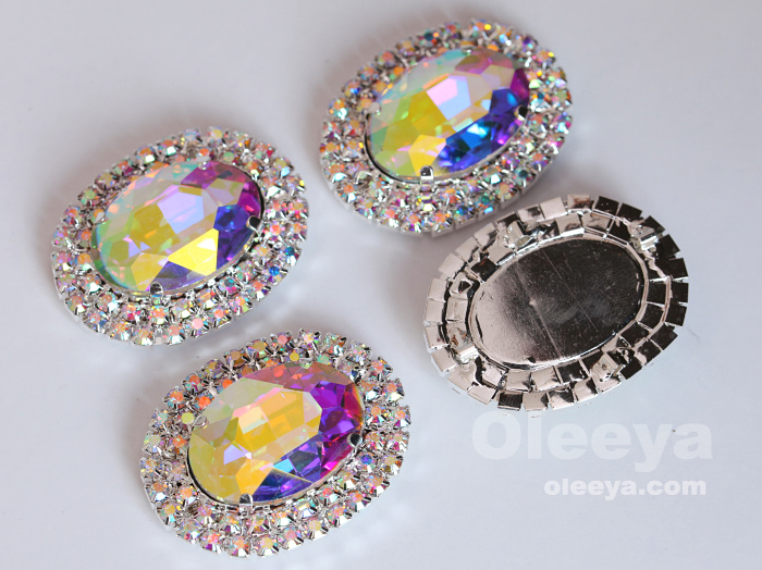 Factory wholesale crystal rhinestones appliques 50mm Navette crystal ab sew on rhinestone applique for readymade garment