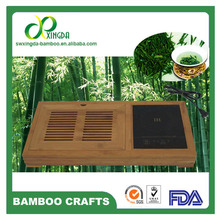 Modern bamboo tea tray with electromagnetic oven induction cooker
