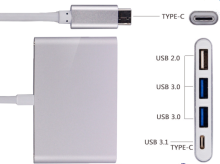 New design high power usb type A usb 3.0 type c 4 in 1 hub