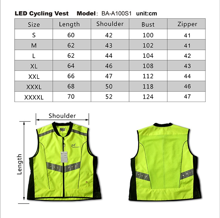 Outing smart safety LED cycling wear