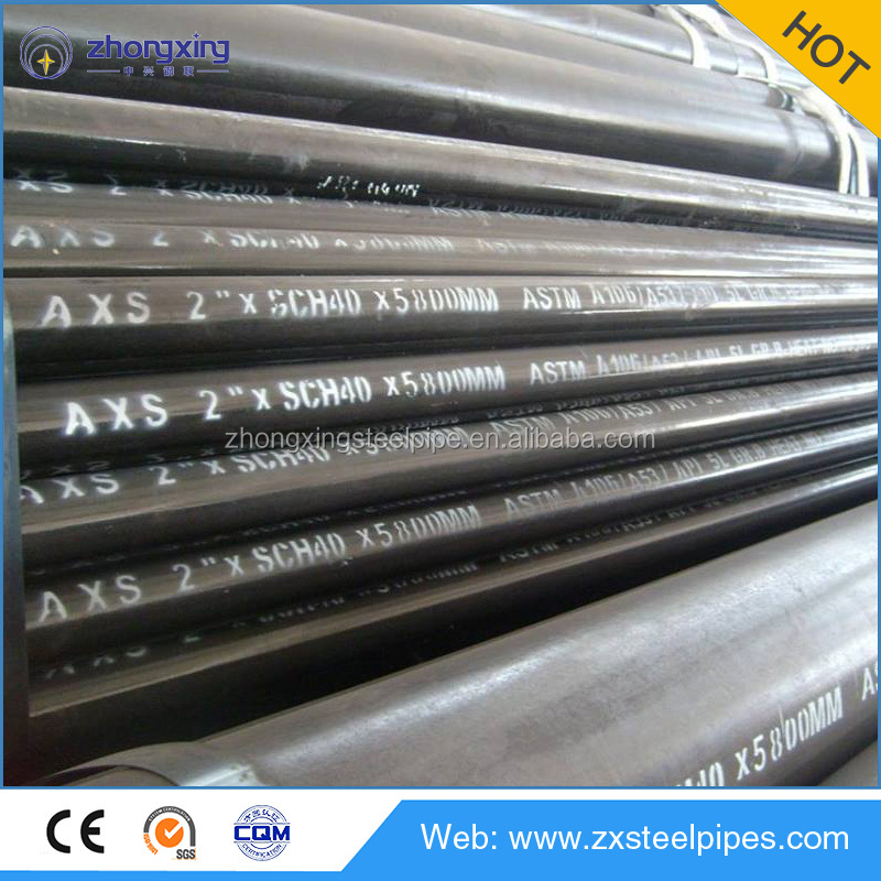 ASTM A106 Gr.B black low Carbon Seamless Steel pipe with sch40 sch80 wall thickness