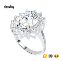 0924 Big Oval Cut Diamond Zircon Ring Latest Gold Finger Ring Designs