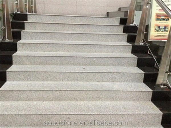 Modern Polished indoor stone steps risers granite stairs