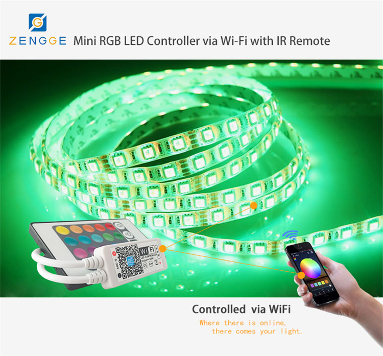 WiFi+IR,interesting new products,Free APP wireless rf 2.4g led music controller for smd strip light led