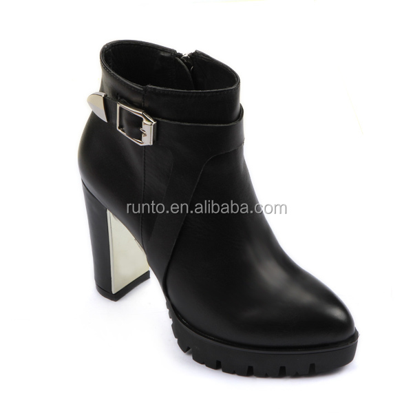 Runtoo lace up shoes custom made ladies genuine leather upper rubber bottom high heel ankle boots