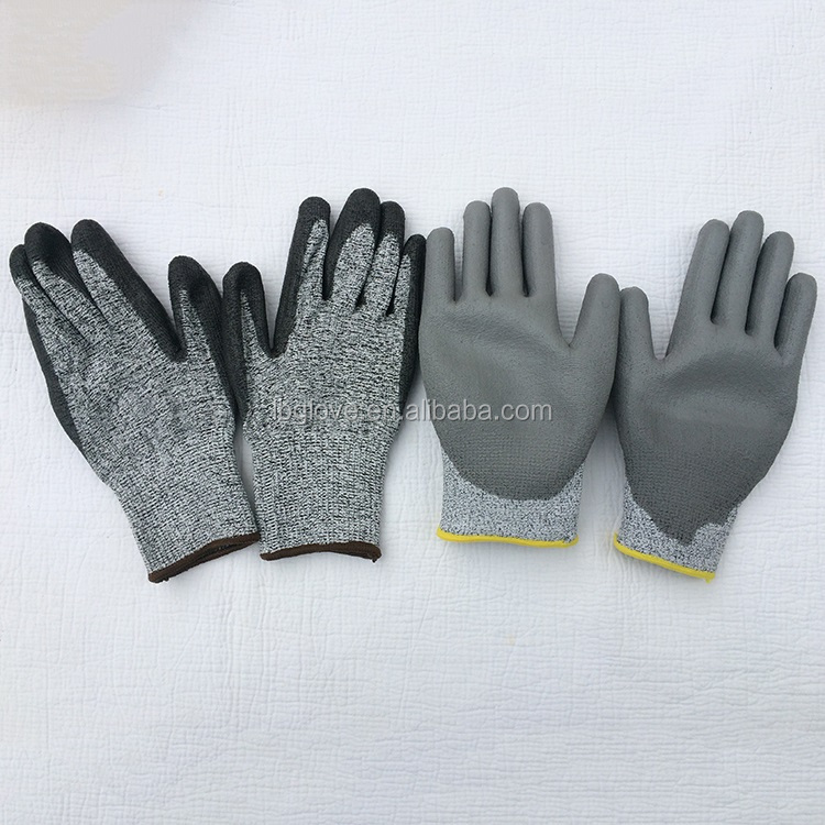 13 Gauge Hppe Knitted Level 5 cut proof gloves anti cut Palm Pu Coated Safety Working Cut Resistant Gloves