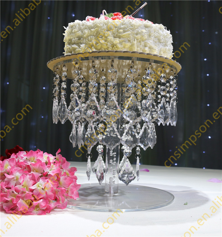 Wedding cake stand with crystal hanging beads Silver round crystal cake stand