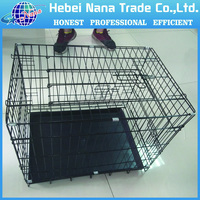 Factory price hot sale black powder coated foldable dog cage / pet cage