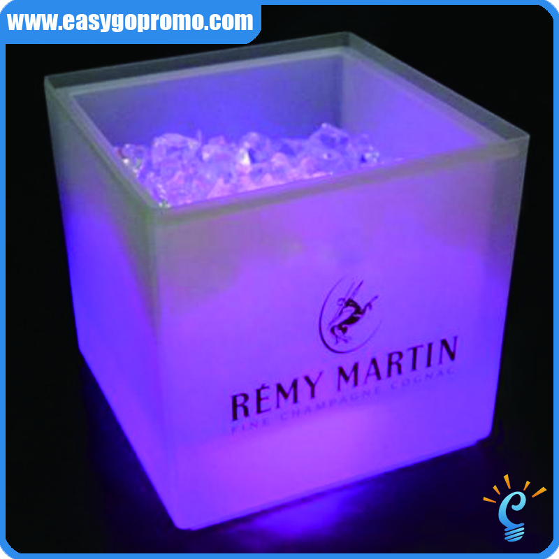 New Barware unique plastic LED beer ice bucket /vodka ice bucket with logo printing
