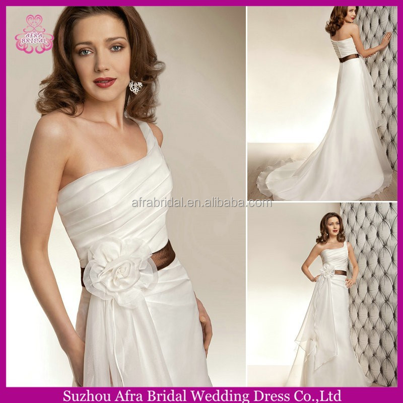 SD1143 organza white cheap wedding dress one shoulder plus size wedding gowns