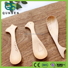 Natural wooden animal baby spoon