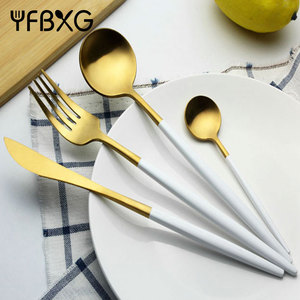 wedding decorative gift stainless steel cutlery set with white handle