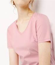 hot sales100% cotton women v-neck short sleeve fit tshirt