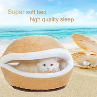 Dog cat style soft material pet bed with hood like shell